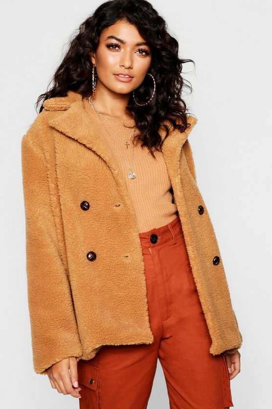 Womens Camel Double Breasted Teddy Faux Fur Coat