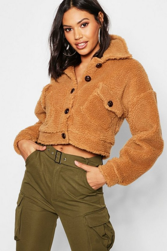 Womens Cropped Teddy Faux Fur Trucker Jacket