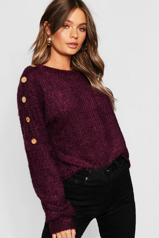 Button Detail Slouchy Knit Jumper