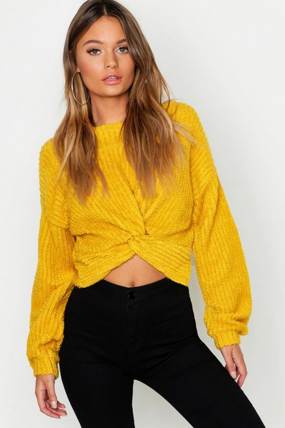 Womens Mustard Twist Front Crop Sweater