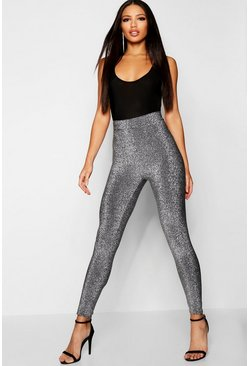 Womens Silver Metallic High Waist Leggings