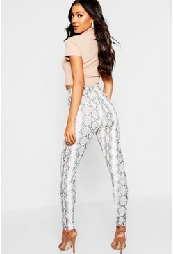 Womens Grey Snake Print Leggings