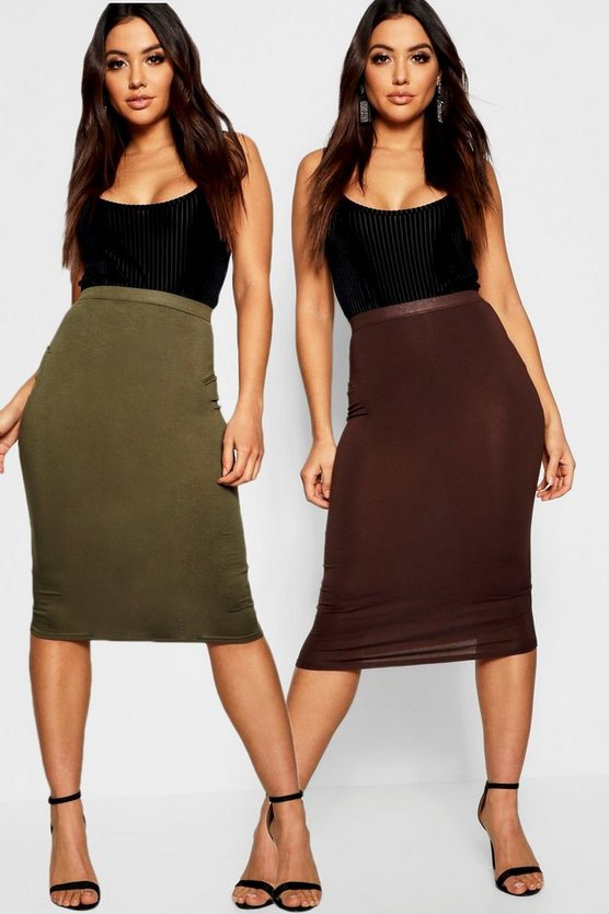 Khaki & Chocolate 2 Pack Basic Midi Skirt