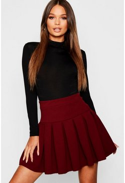 Womens Berry Pleated Tennis Skirt