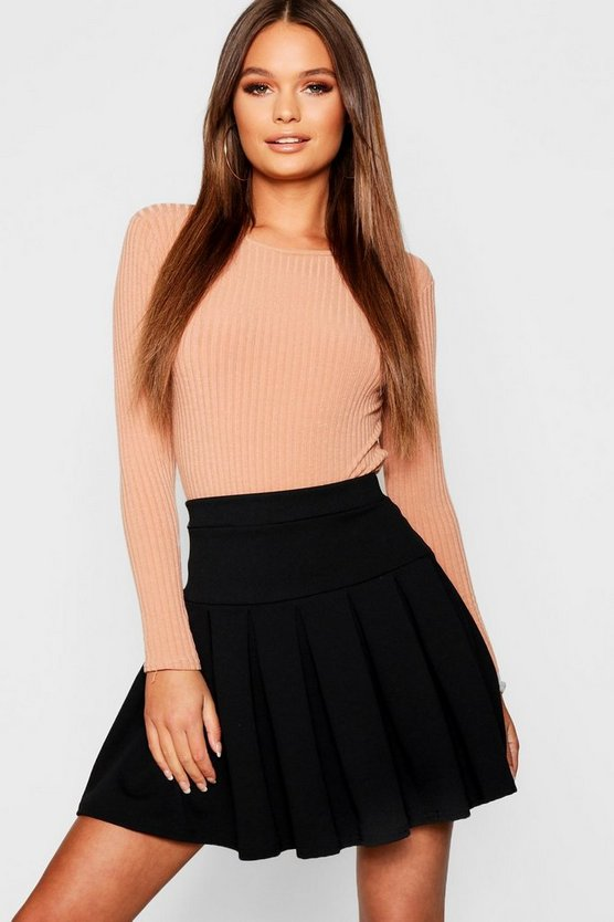 Womens Black Pleated Tennis Skirt