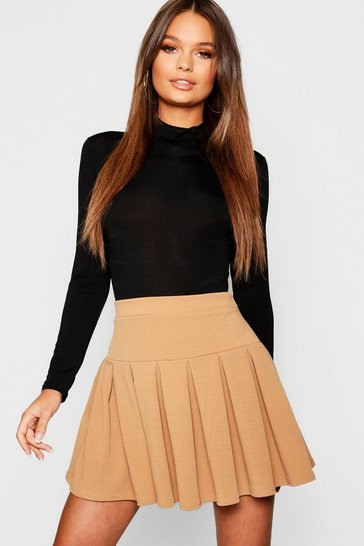 Womens Camel Pleated Tennis Skirt