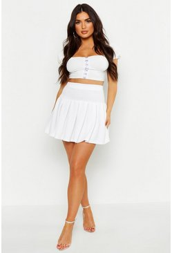 Womens Ivory Pleated Tennis Skirt