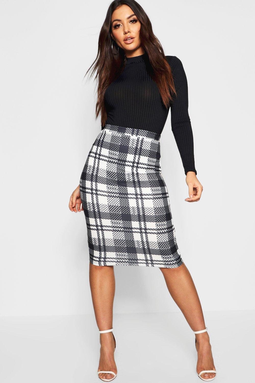 87ca1fbc2bda Womens Black Monochrome Check Midi Skirt. Hover to zoom