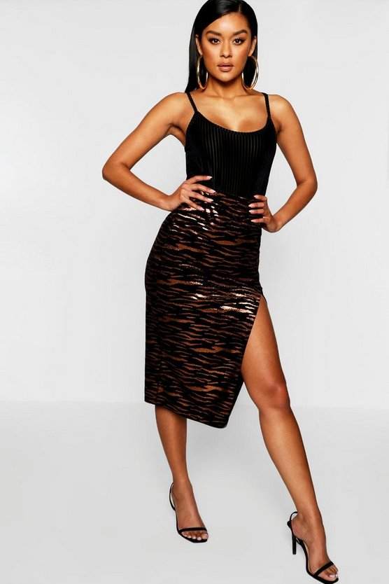 Velvet Metallic Tiger Print Split Midi Skirt