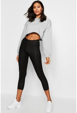 Womens Black Cropped 3/4 Jeggings