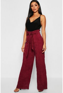 Womens Berry Paperbag Tie Waist Cord Wide Leg Pants