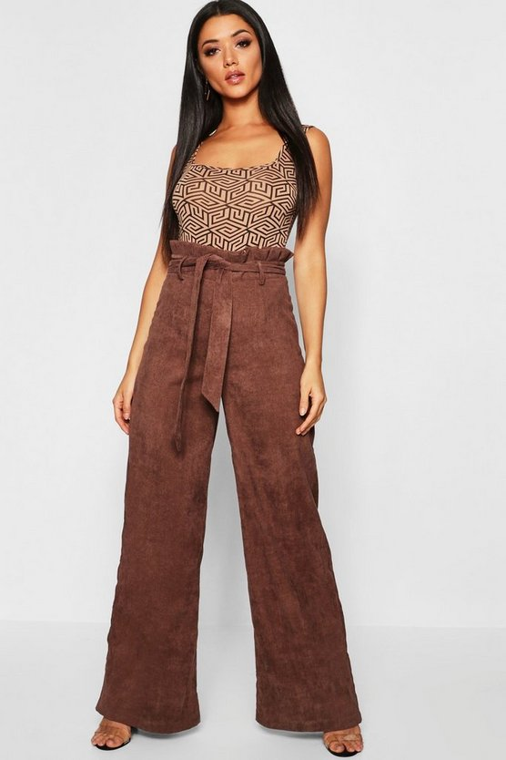 Womens Chocolate Paperbag Tie Waist Cord Wide Leg Pants