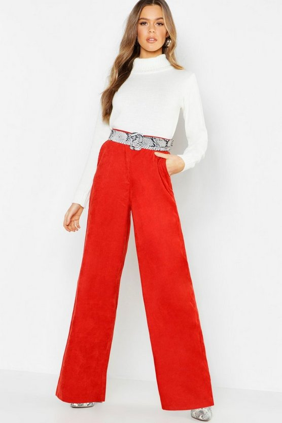 Womens Rust Cord Wide Leg Pants
