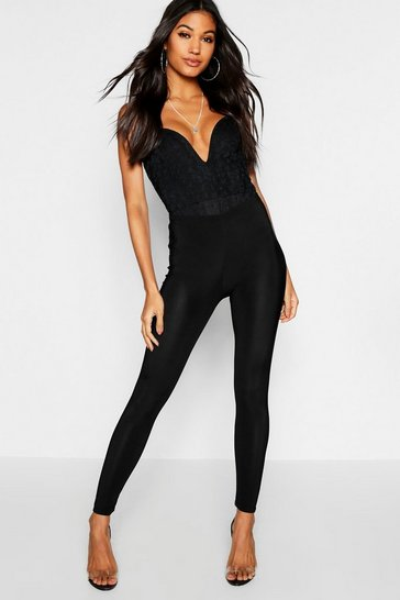 Womens Black Slinky High Waisted Leggings