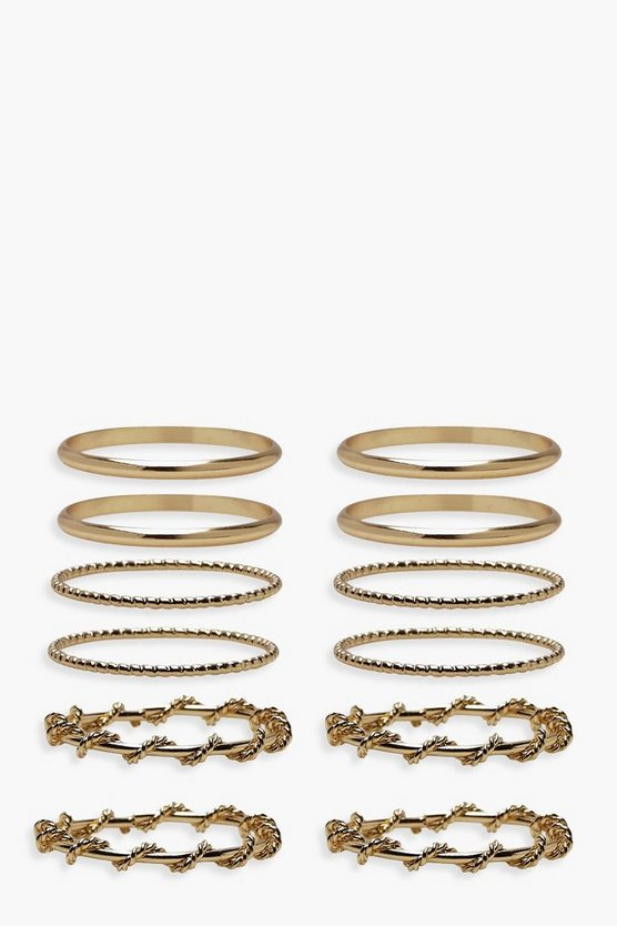 Womens Gold Simple Stackable Ring Pack