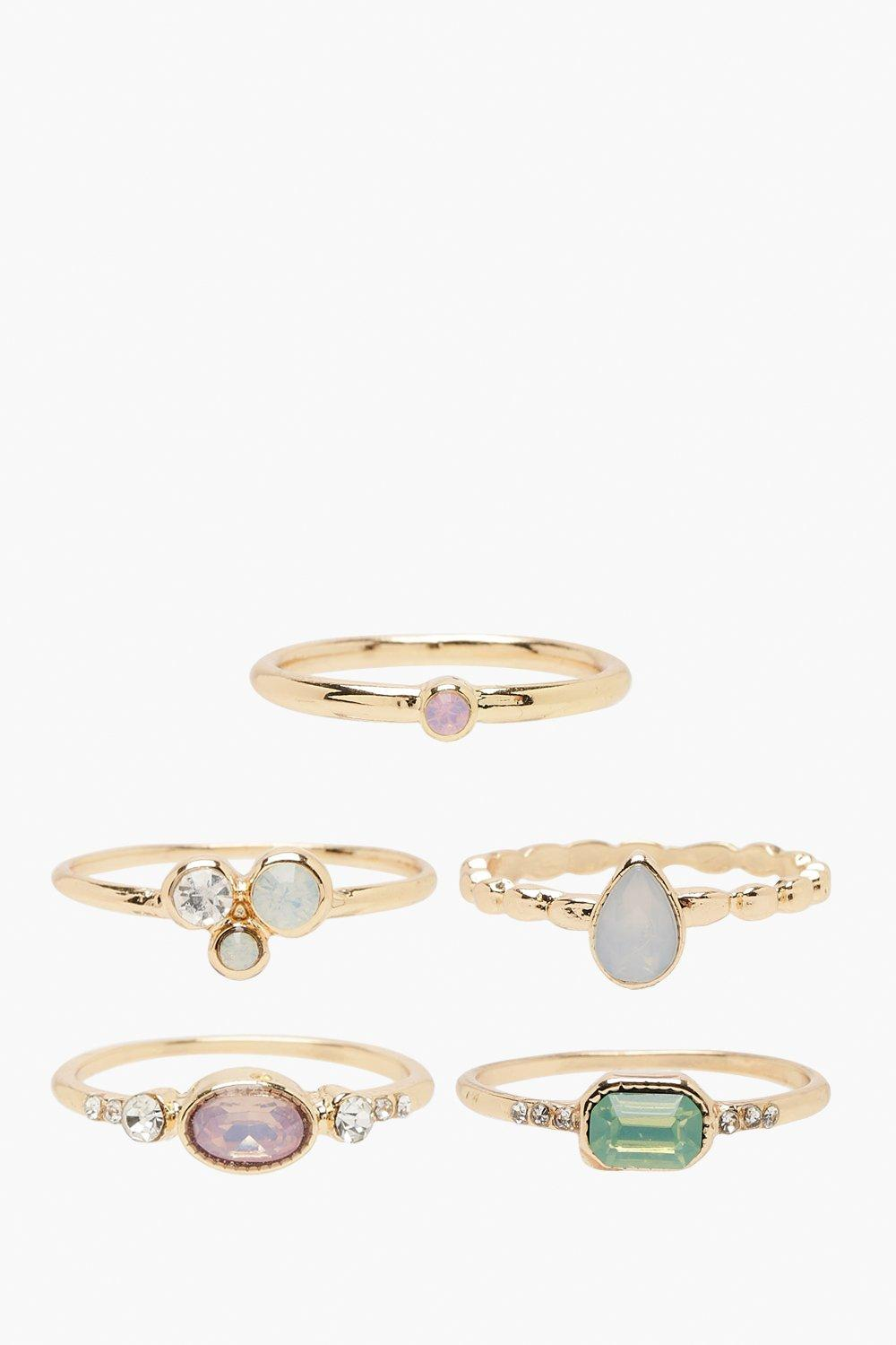 Mixed Gem Stackable Ring Pack