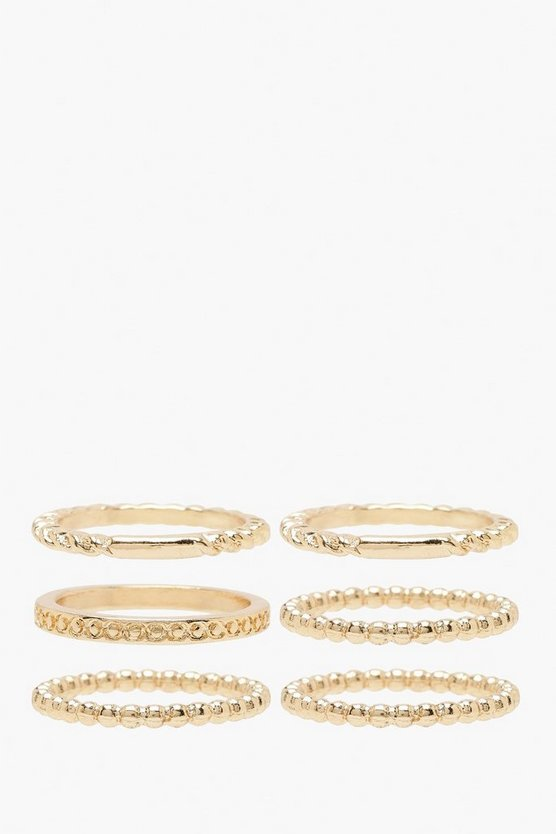 Womens Gold Simple Twist Ring Pack