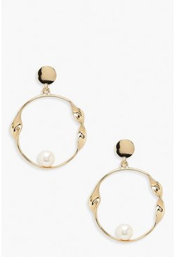 Womens Gold Pearl & Twist Circle Earrings