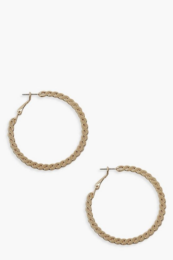 Womens Gold Twisted Chain Link Hoop Earrings