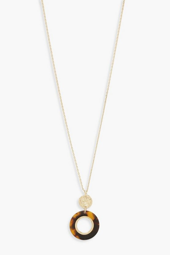 Womens Gold Tortoise Pendant Circle Necklace