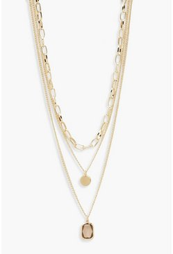 Womens Gold Chain & Gem Layered Necklace