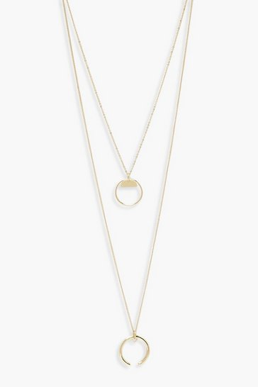 Womens Gold Circle Layered Necklace