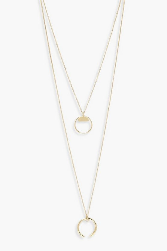 Collier superposé à cercle, Or, Femme
