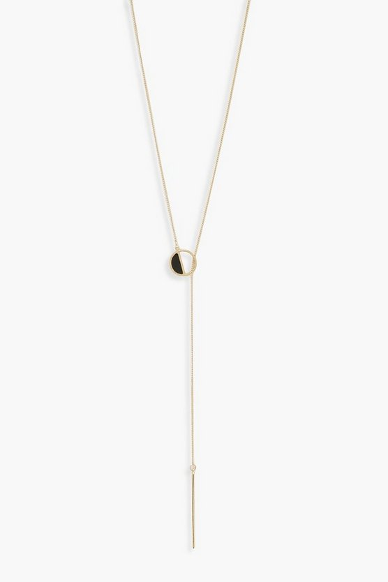 Womens Gold Half Circle Simple Loop Plunge Necklace