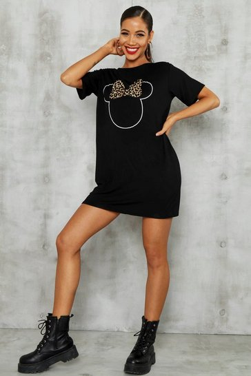 Womens Black Disney Minnie Leopard Bow Tshirt Dress