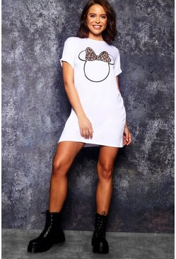 White Disney Minnie Leopard Bow Tshirt Dress