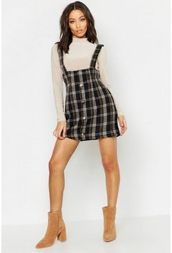Womens Black Brushed Knit Checked Pinafore Dress