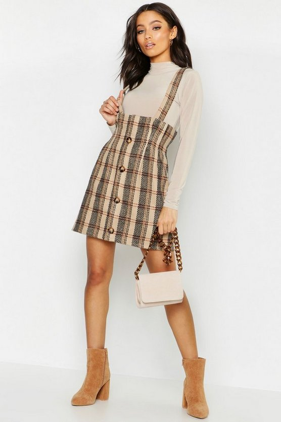 Brushed Knit Checked Pinafore Dress