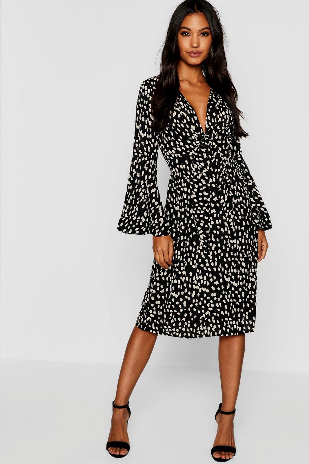 65e67b2a Knot Front Cheetah Print Midi Dress | Boohoo