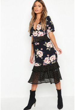Womens Black Floral Polka Dot Mix Midi Dress
