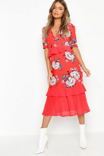 Womens Red Floral Polka Dot Mix Midi Dress
