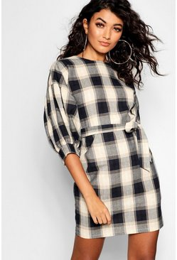 Womens Navy Checked Volume Sleeve Shift Dress