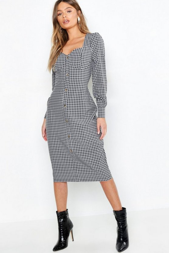 Black Bustier Checked Midi Dress