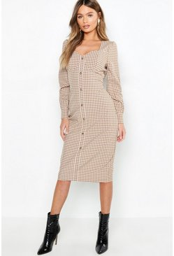 Womens Stone Bustier Checked Midi Dress