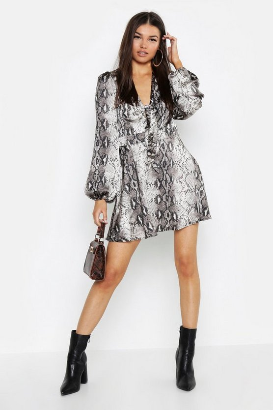 Womens Grey Knot Front Blouson Sleeve Snake Print Skater Dress