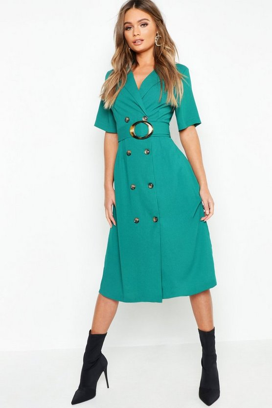 Womens Emerald Horn Button Front Belted Blazer Dress