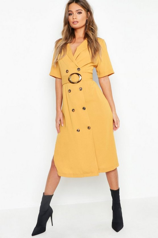 Horn Button Front Belted Blazer Dress