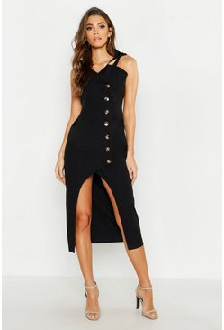 Womens Black Horn Button Asymetric Pinafore Dress