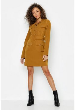 Womens Chartreuse Lace Up Front Utility Mini Dress