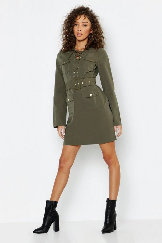 Lace Up Front Utility Mini Dress