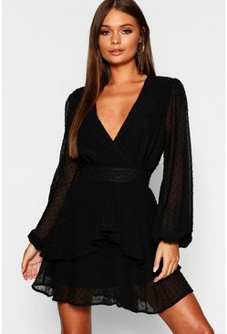 Womens Black Ruffle Hem Dobby Chiffon Mini Dress