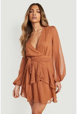 Womens Caramel Ruffle Hem Dobby Chiffon Mini Dress