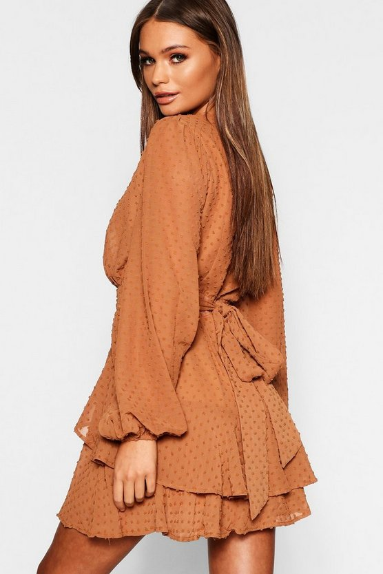 Ruffle Hem Dobby Chiffon Mini Dress
