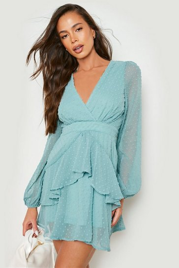 Sage Ruffle Hem Dobby Chiffon Mini Dress