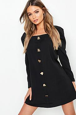 Square Neck Volume Sleeve Button Front Shift Dress