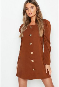 Womens Chocolate Square Neck Volume Sleeve Button Front Shift Dress